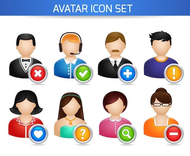 Avatar redes sociais conjunto de fóruns perfil dos usuários com opções isoladas na ilustração vetorial branca Vetor grátis