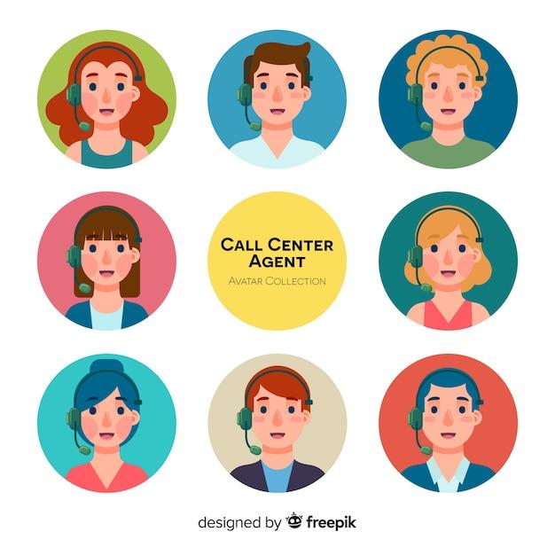 Avatares de call center diferentes em design plano Vetor grátis