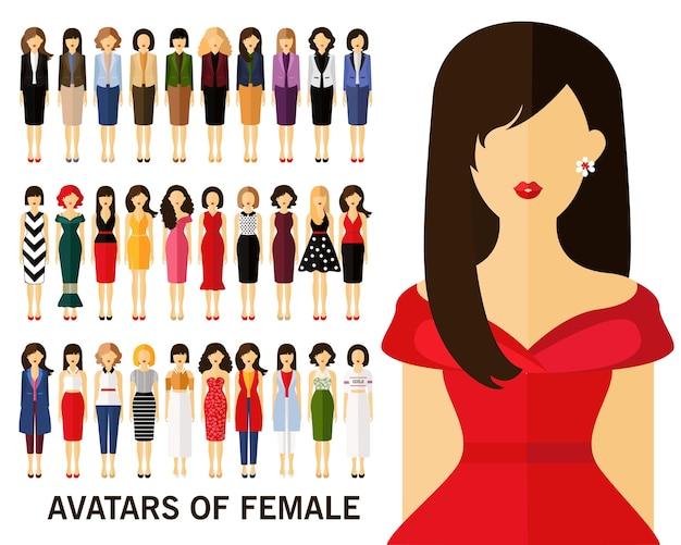Avatares de fundo conceito feminino Vetor Premium