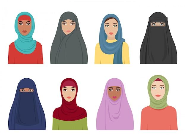 Avatares de meninas muçulmanas. moda islâmica para as mulheres turco iraniano e lenço árabe hidjab em vários tipos. fêmea árabe plana Vetor Premium