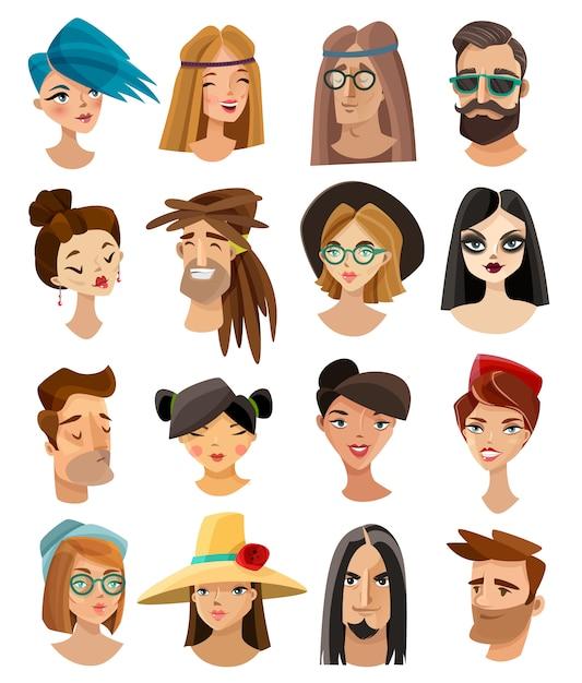 Avatares definidos no estilo dos desenhos animados Vetor grátis