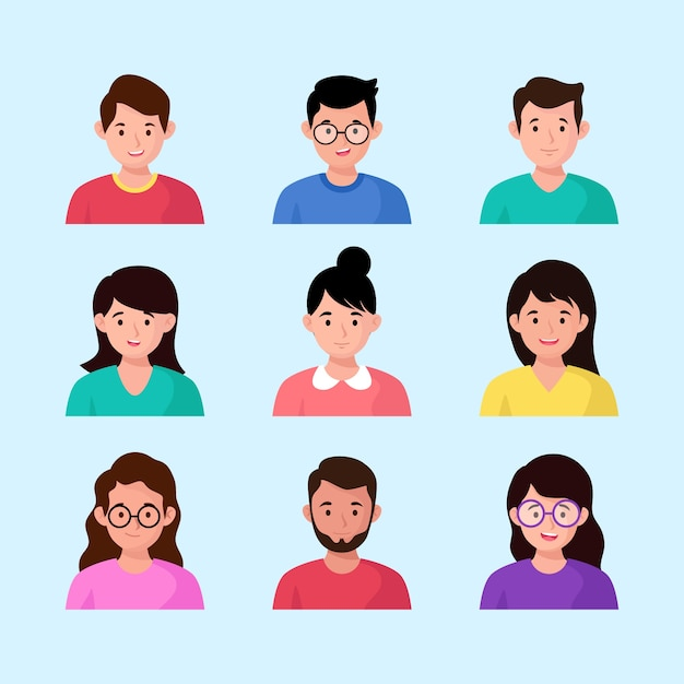 Avatares do grupo de pessoas Vetor Premium