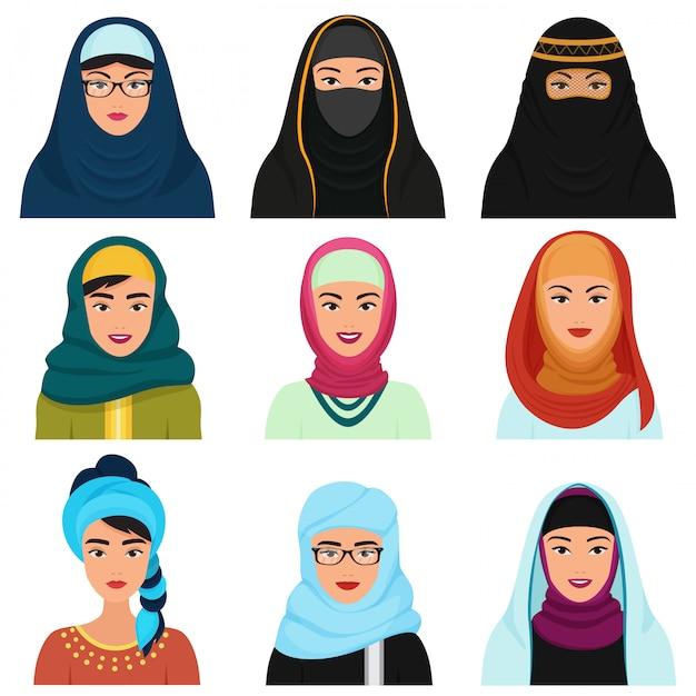 Avatares femininos árabes do oriente médio Vetor Premium