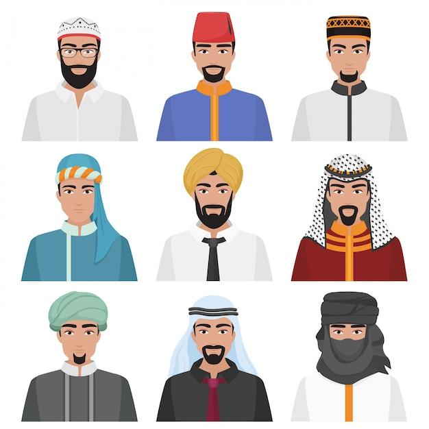 Avatares masculinos árabes do oriente médio Vetor Premium