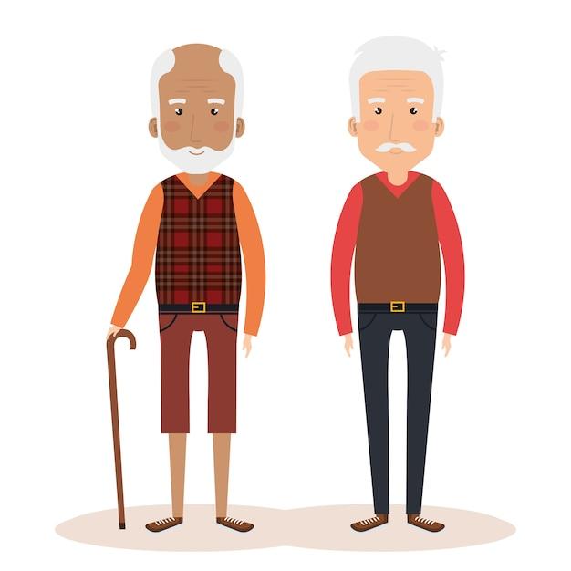 Avatares personagens do grupo de avós Vetor Premium