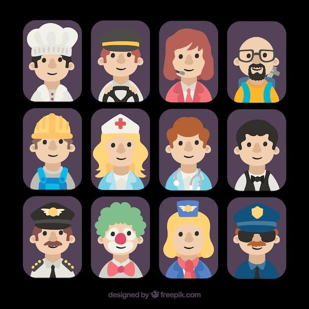 Avatares variados de funcionários Vetor grátis