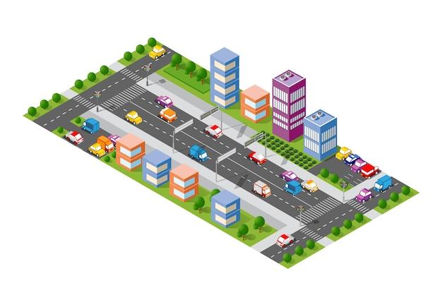 Avenida da cidade isométrica Vetor Premium