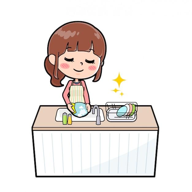 Avental de linha mãe cook dishwash Vetor Premium