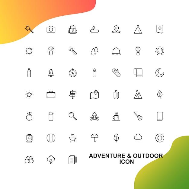 Aventura e conjunto de ícones de viagem Vetor Premium