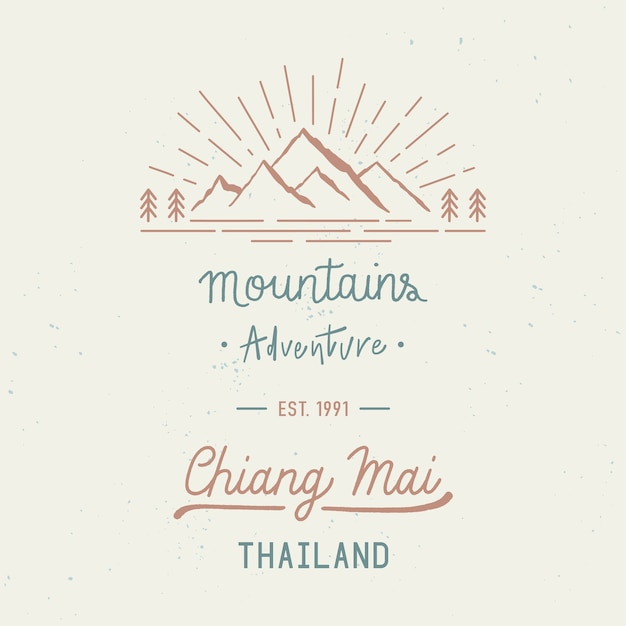 Aventura nas montanhas com as palavras de chiang mai. nome da cidade na província do norte da tailândia. conceito de viagens com respingos de aquarela abstratos. Vetor Premium
