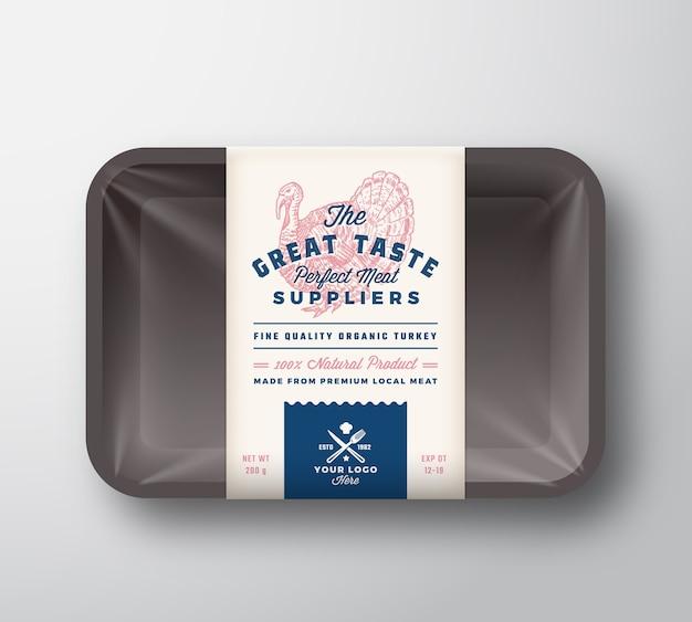 Aves de óptimo sabor. recipiente de bandeja de plástico de carne com tampa de celofane. modelo de etiqueta de design de embalagem de tipografia retrô. desenhado à mão turquia vintage Vetor Premium