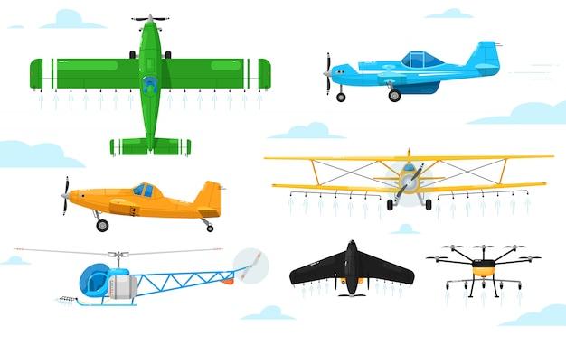 Aviação agrícola. conjunto de aeronaves espanador de pulverização de produtos químicos definido. avião, biplano, monoplano, helicóptero, drone pulverizando pesticidas coleção de aviação agrícola Vetor Premium