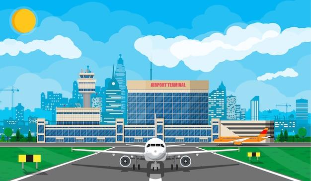 Avião antes da decolagem Vetor Premium