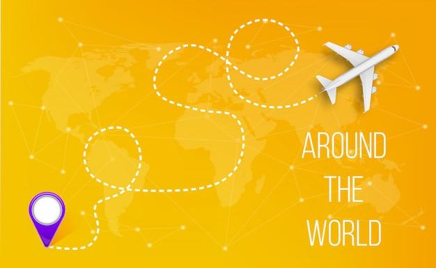 Avião com linhas de caminho tracejado, rota do céu de avião. Vetor Premium