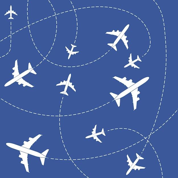 Avião com linhas tracejadas Vetor Premium