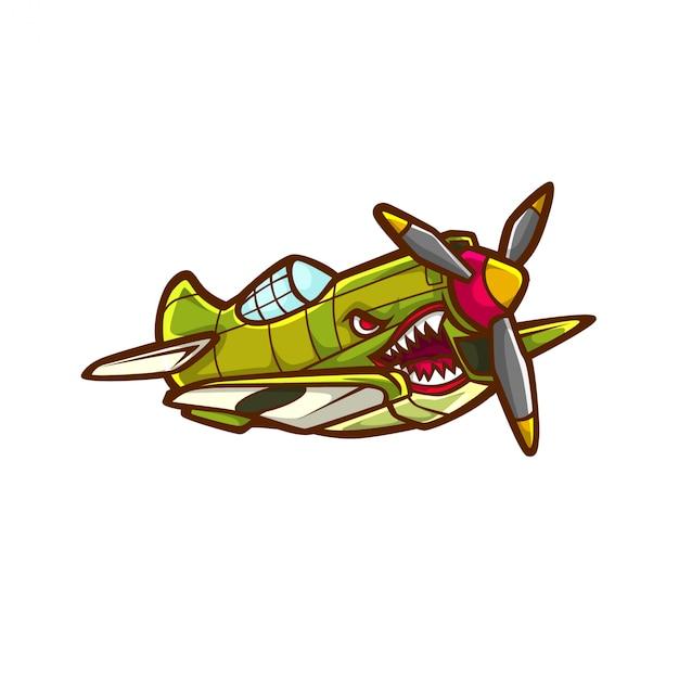 Avião de caça jato avião vetor ww2 ww1 guerra mundial velho jato Vetor Premium