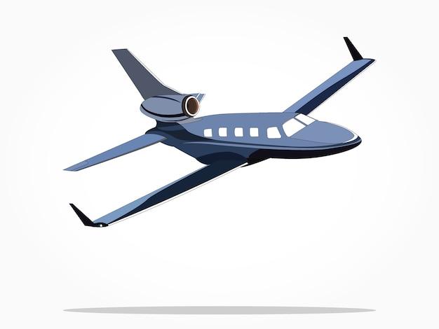 Avião de jato privado flutuante azul Vetor Premium