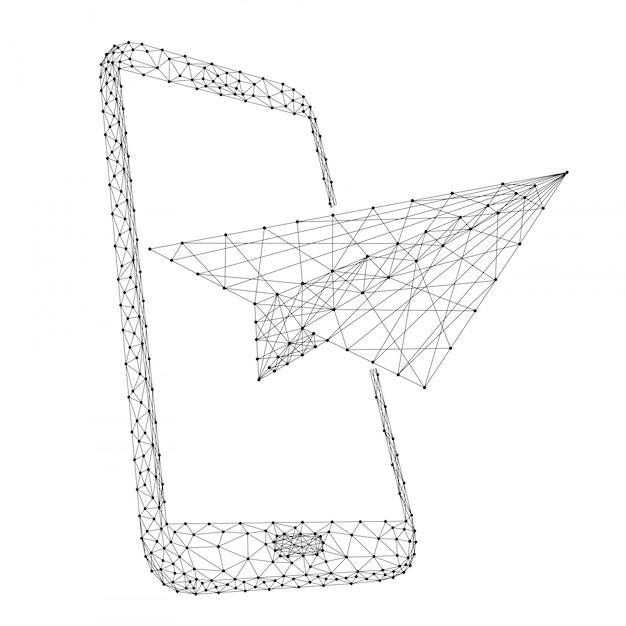 Avião de papel decola de um smartphone, o conceito de comunicação e encaminhamento de mensagens de linhas e pontos poligonais pretos. Vetor Premium