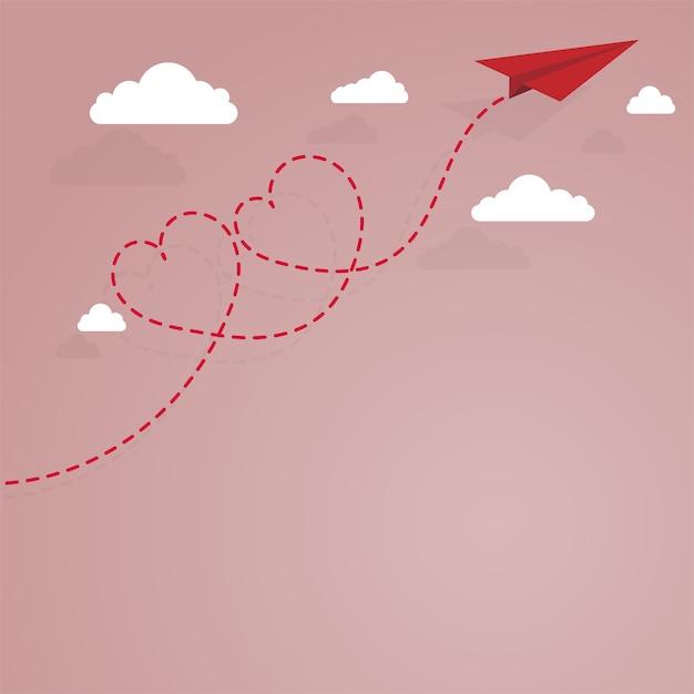 Avião de papel e coração forrado tracejado Vetor Premium
