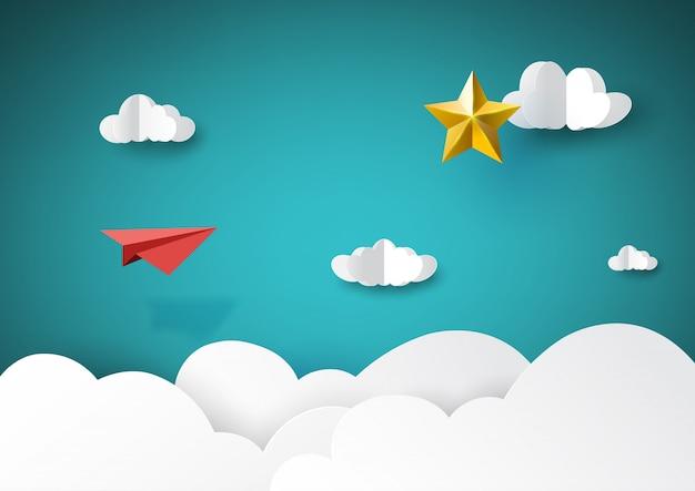 Avião de papel vermelho que voa ao estilo dourado da arte do papel da estrela. Vetor Premium