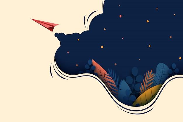 Avião de papel vermelho voa sobre fundo azul escuro. Vetor Premium