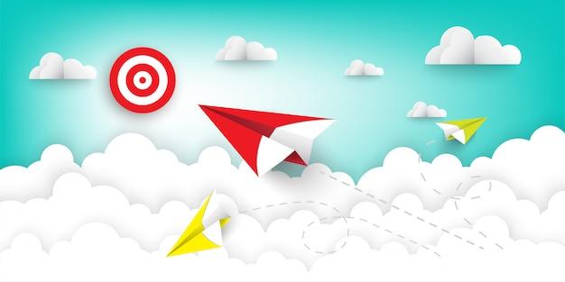 Avião de papel vermelho voando Vetor Premium