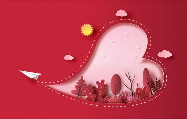 Avião de papel voando no céu com forma de coração e plantas, estilo de arte de papel, ilustração de estilo simples. Vetor Premium