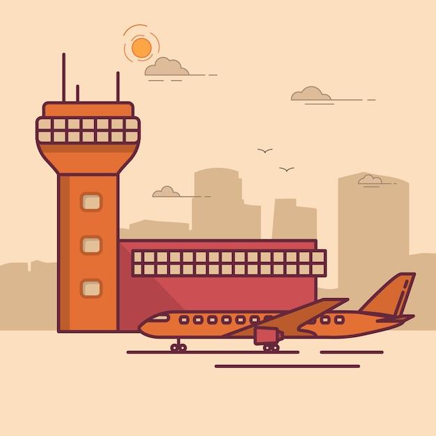 Avião de passageiros da torre terminal do aeroporto. Vetor Premium