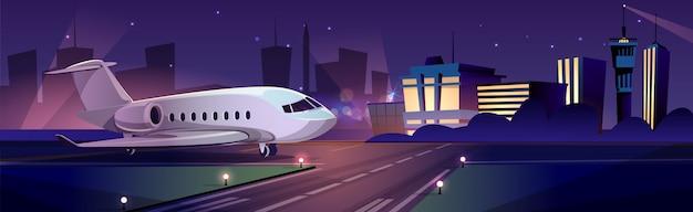 Avião de passageiros privado ou jato de negócios pessoais na pista à noite, edifício terminal do aeroporto Vetor grátis