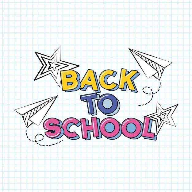 Avião e estrelas, volta para escola doodle desenhado em uma folha de grade Vetor grátis