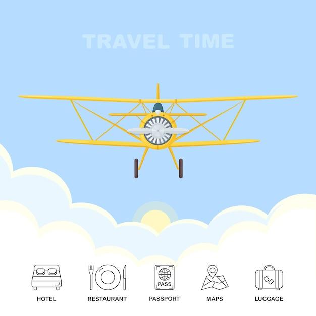 Avião retrô voando através de nuvens no céu azul. viagem aérea. hotel, restaurante, passaporte, mapas, ícones de bagagem isolados Vetor Premium