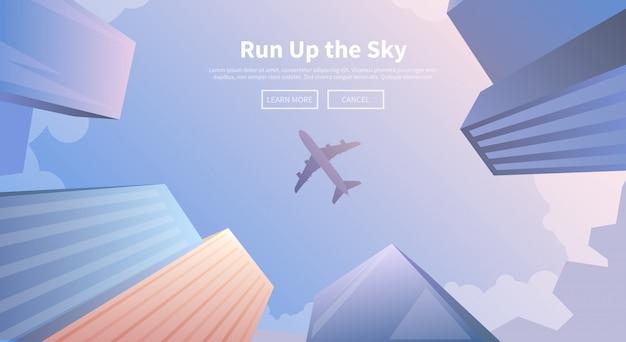 Avião sobrevoando arranha-céus de negócios. Vetor Premium