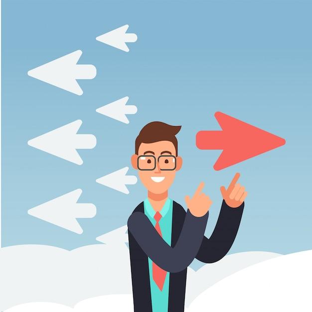 Avião vermelho muda de direção. negócios diferentes de pensamento e inovação Vetor Premium