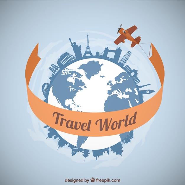 Avião viajando ao redor do mundo Vetor grátis