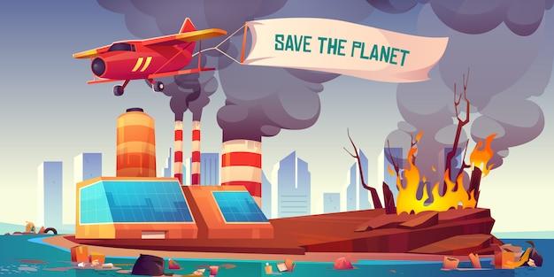 Avião voando com banner salvar o planeta Vetor grátis