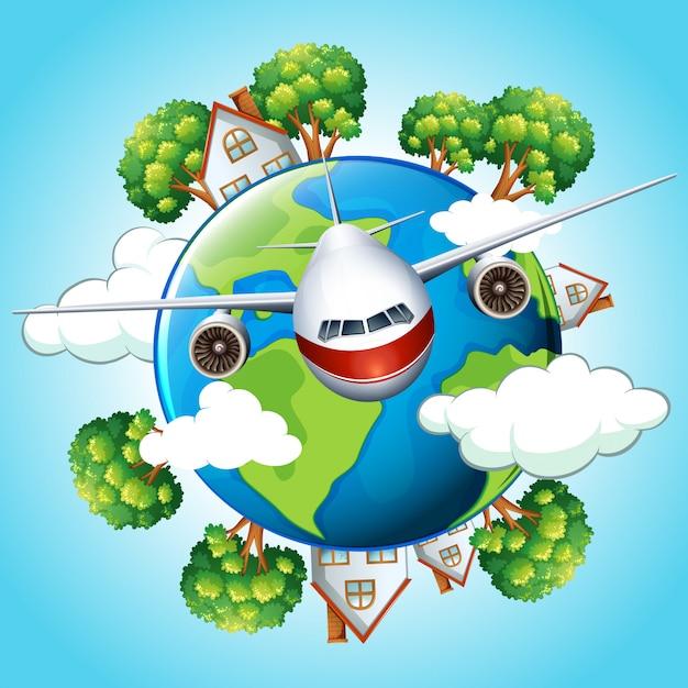 Avião voando fora do mundo Vetor grátis