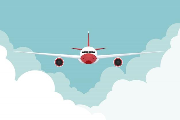 Avião voando no céu. ilustração vetorial Vetor Premium