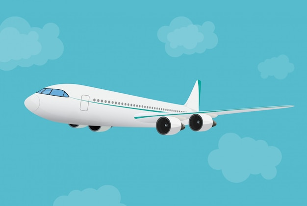 Avião voando no céu. Vetor Premium