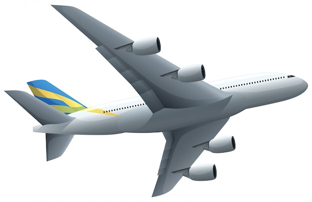 Avião voando no fundo branco Vetor grátis