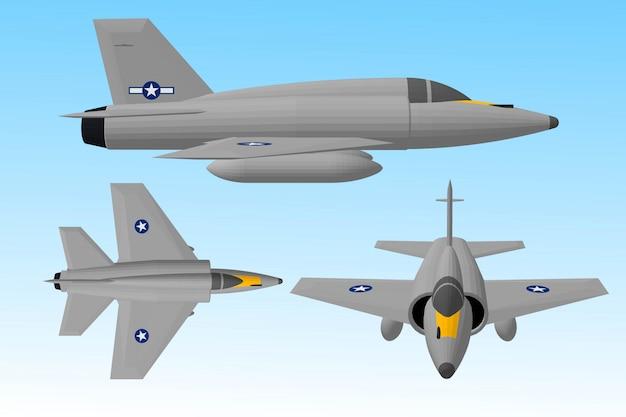 Aviões a jato e navios de guerra para soldados Vetor Premium