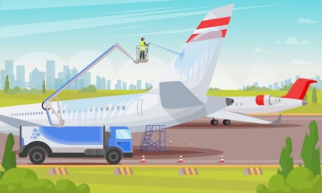 Aviões de lavagem na ilustração lisa do aeroporto. Vetor Premium