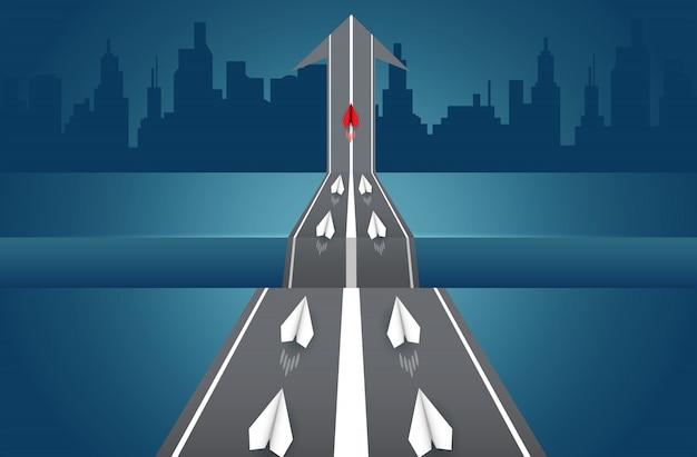 Aviões de papel estão competindo na estrada para o destino. liderança. Vetor Premium