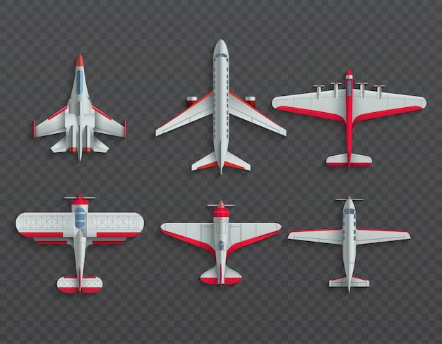 Aviões e vista superior de aeronaves militares. vetor de avião e lutador 3d Vetor Premium