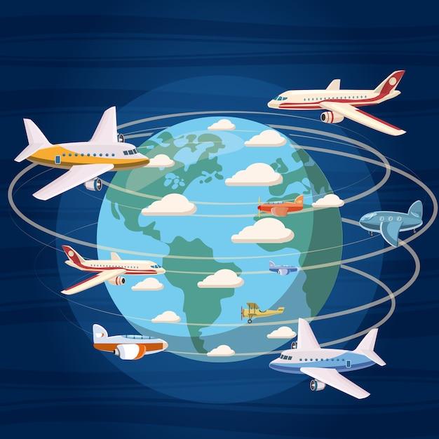 Aviões em todo o conceito do mundo. ilustração dos desenhos animados de aviões ao redor do fundo do mundo Vetor Premium