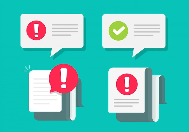 Aviso e marca de verificação avisa notificações importantes mensagens push de texto Vetor Premium