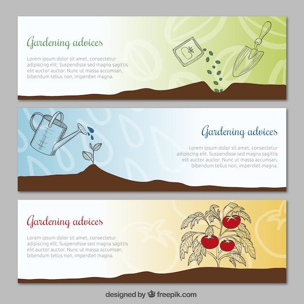 Avisos de jardinagem banners Vetor grátis