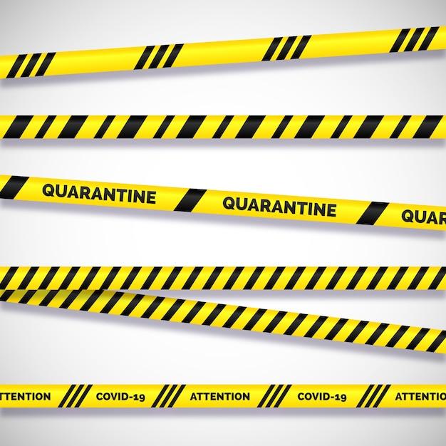 Avisos sobre os perigos de listras realistas Vetor grátis