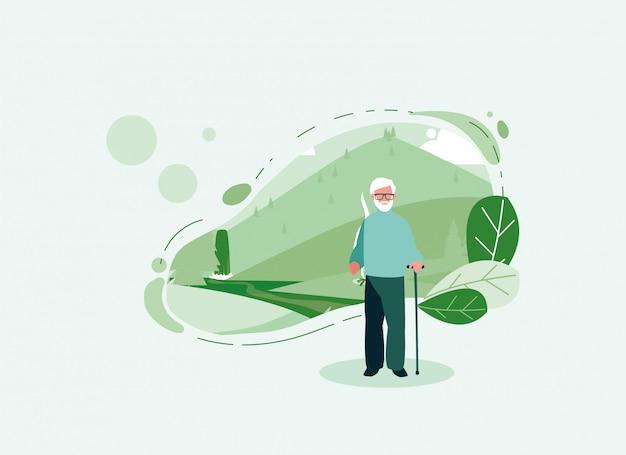 Avô avatar velho na frente de uma paisagem Vetor Premium