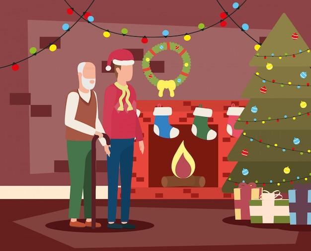 Avô bonitinho com o filho no quarto de natal decorada Vetor Premium