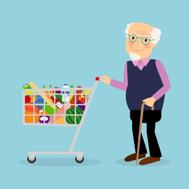 Avô com carrinho de compras com mantimentos Vetor Premium